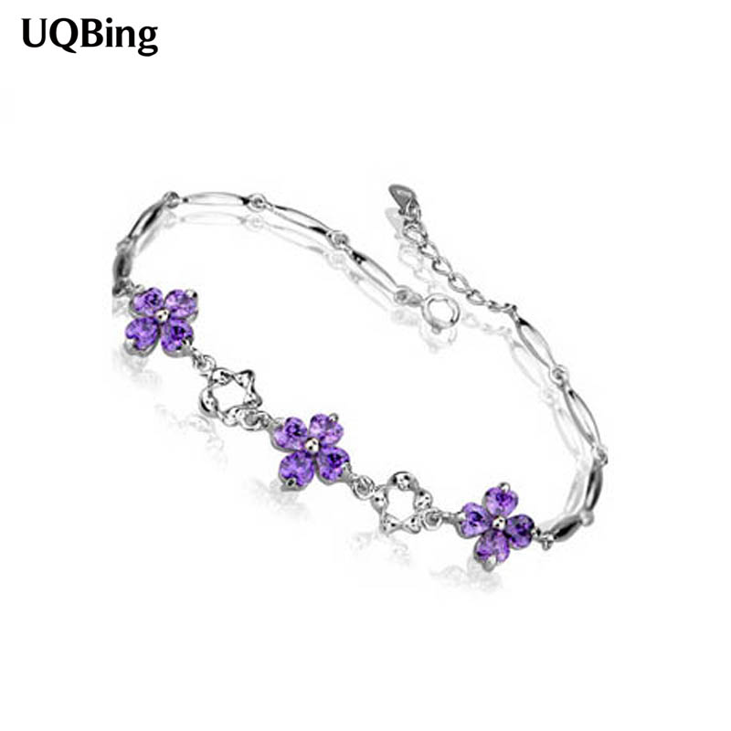 Fashion 925 Sterling Silver Clover Crystal Bracelet Wholesale Women Bracelet Jewelry Accessories Srebrna bransoletka