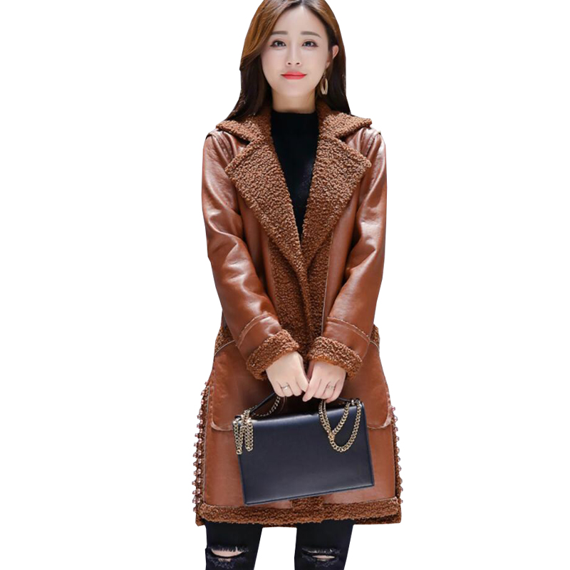 New 2018 Winter Women Faux Lambs Wool Coat Female Medium Long Thick Warm Shearling Both Sides Coats Faux   Suede     Leather   Jackets