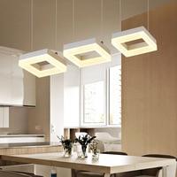 Modern Led Pendant Lamp Remote Control Led Lighting For Living Room Stepless Dimming Rectangle Led Pendant