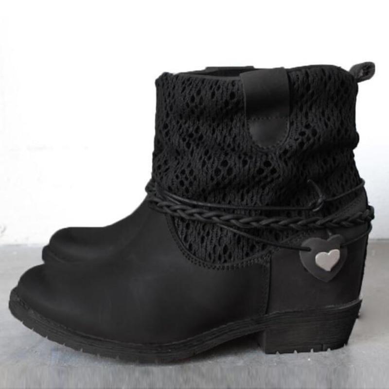 De Mujer 1 Cuero Par Mujeres Brown Zapatos Calle Cortas Redonda Botines Punta Flete Botas black Estilo Motor Gótico Martin Punky BAaxXAqw