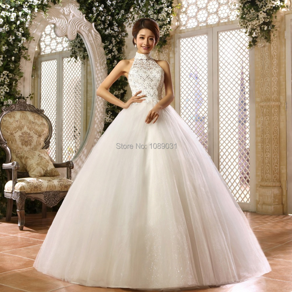 Wedding Halter Wedding Dress popular halter wedding dresses buy cheap 2017 new whiteivory beading elegant bridal gown princess ball formal