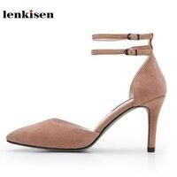 Lenkisen Новый Лидер продаж замшевые с острым носком обувь на высоком каблуке Женские однотонные с двойной пряжкой ремешок украшения мода женс