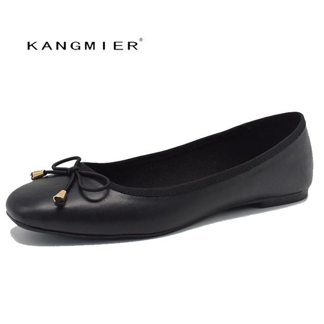1f50f9951f4 flats shoes women black Genuine leather Ballerina ballet flats square toe  with bow tie Autumn fashion KANGMIER