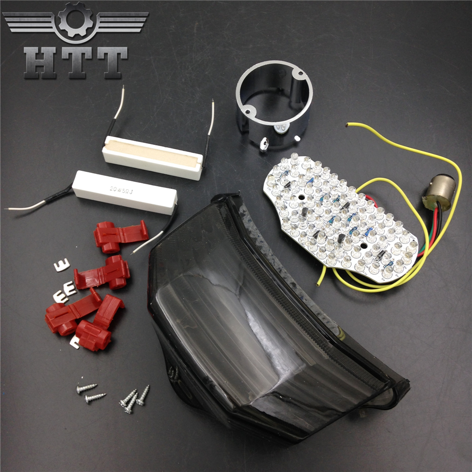 Aftermarket free shipping motorcycle parts LED Tail Brake Light Turn Signals for 2004-2009 Yamaha FZ6 Fazer 600 SMOKE motorcycle tail tidy fender eliminator registration license plate holder bracket led light for ducati panigale 899 free shipping