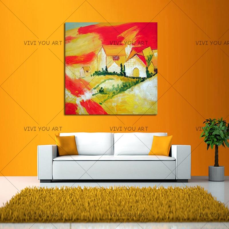 100% ruční olejomalby abstraktní žlutá červená obloha malba domu na plátně obývací pokoj domácí výzdoba moderní krajina nástěnné umění