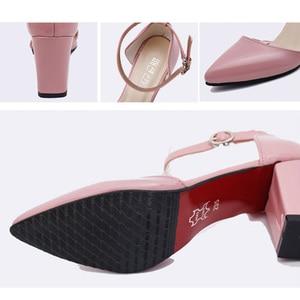 Image 5 - DAGNINO קיץ אדום תחתון עקבים גבוהים הבוהן מחודדת משאבות נשים סקסי משרד גבירותיי אופנה PU LeatherWedges פלטפורמת נעלי אישה