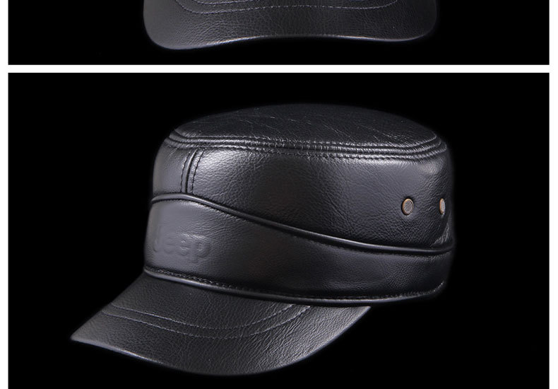 Male winter hat flat cap leather men outdoor leisure pants Leather Hat wholesale warm earmuffs