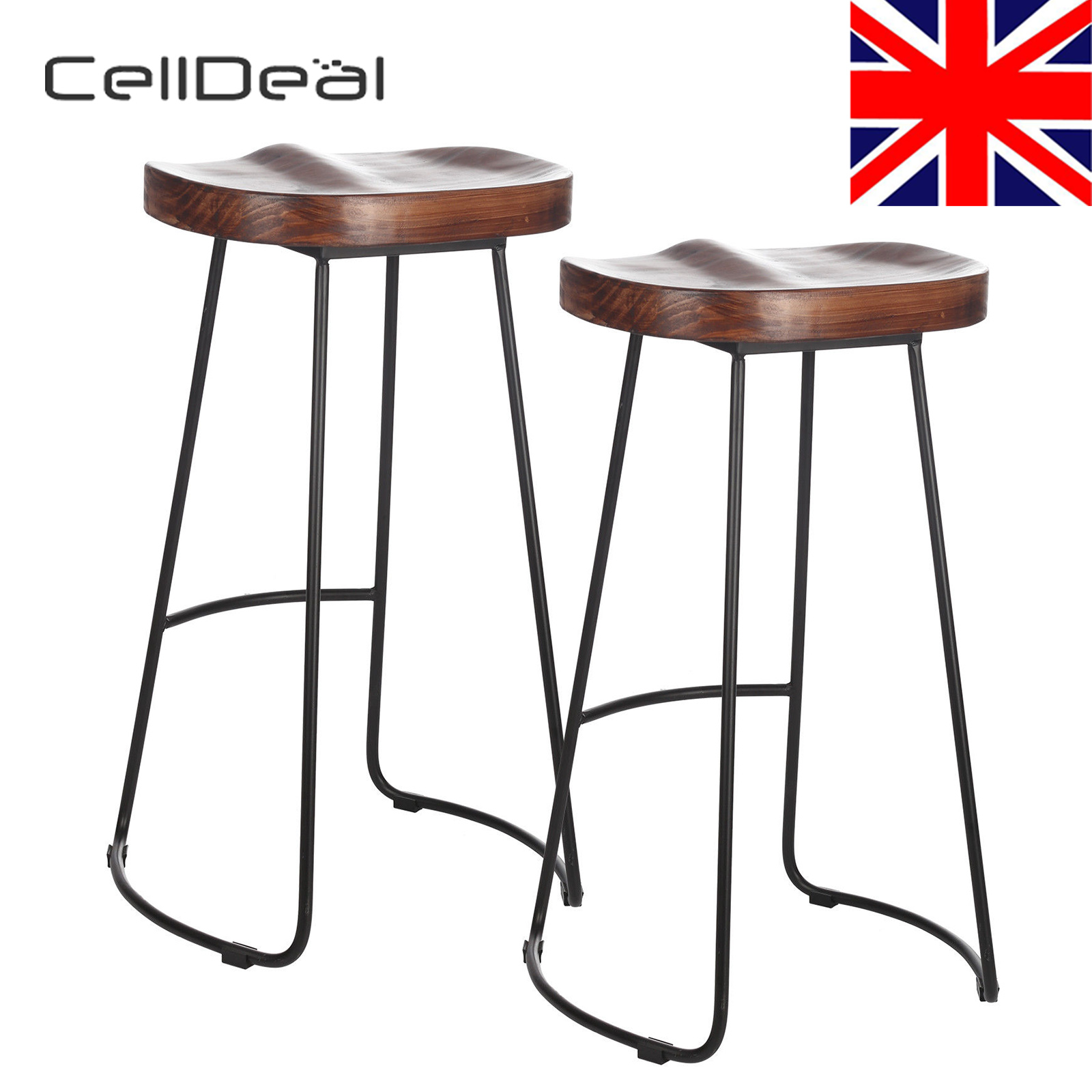 Set Of 2 Industrial Bar Stools Kitchen Breakfast High Chair Wood Pub Seat Bar Stools Modern Bar Stool Tables
