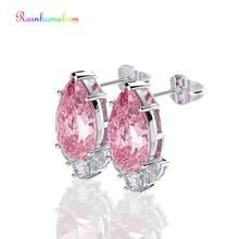 Серьги гвоздики из серебра 925 пробы с розовым сапфиром
