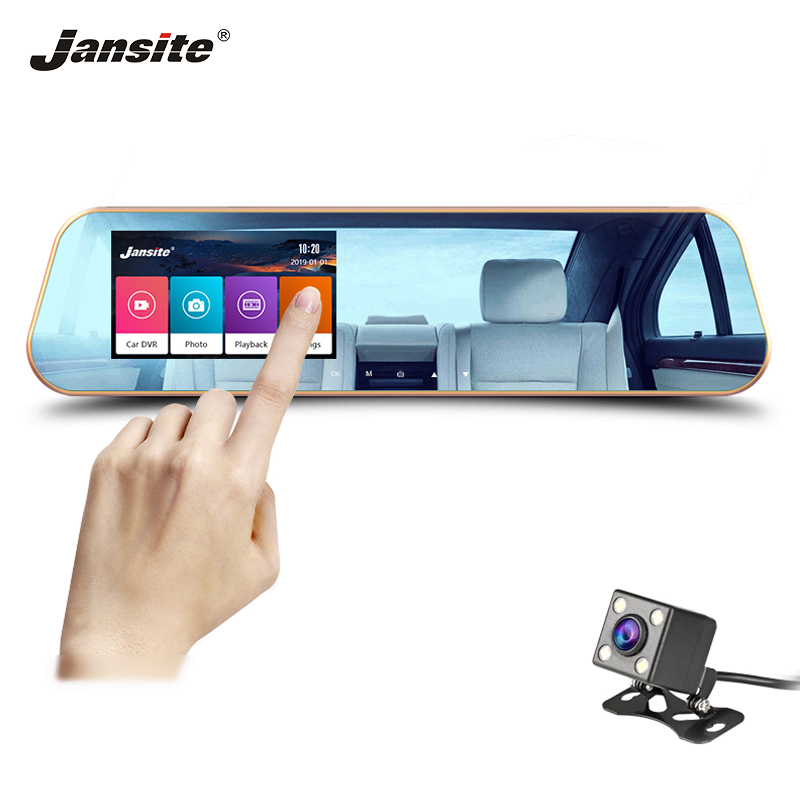 Jansite 4.3-inch Car DVR Touch screen dash camera Dual Lens screen Auto Cameras Video Recorder Rear view mirror Cyclic Recording