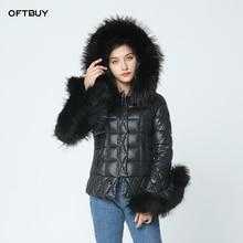 Женская куртка-пуховик с отд.нат.мехом OFTBUY, черная утолщенная утепленная куртка-пуховик на белой подкладке с большим капюшоном и отделкой манжет и капюшона натуральным мехом енота, зима