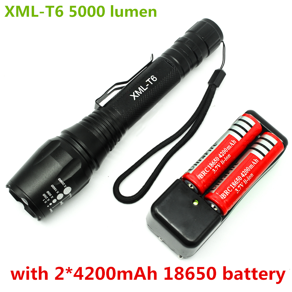 5000 lumen led flashlight cree xml t6 5 mode  zoomable tactical torch flashlight with clamp + 2 x 18650 battery + 1 * charger hot sale 3x cree xml t6 led headlamp bike light 5000 lumen 18650 led head light 4x18650 battery pack charger bike rear light