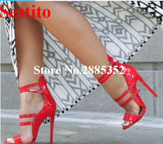 Sestito High Heels Shoes Patent Leather Strappy Summer Sandals Red Navy Sexy Open Toe Stiletto Fashion Dress Party Strip Shoes women strappy heels evening high heel black patent leather sandals open toe thin heel sexy party stiletto shoes big size 2017