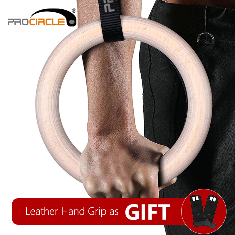 Procircle Wood Gymnastiske Ringe Gym Ringe med Justerbare Long Buckles Straps Workout til Home Gym og Cross Fitness