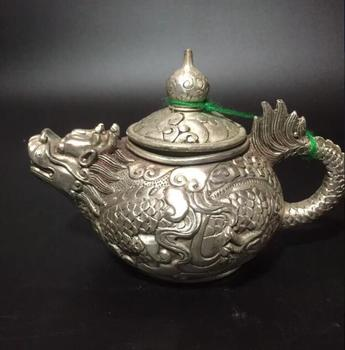 Collection archaize white copper dragon teapot crafts statue