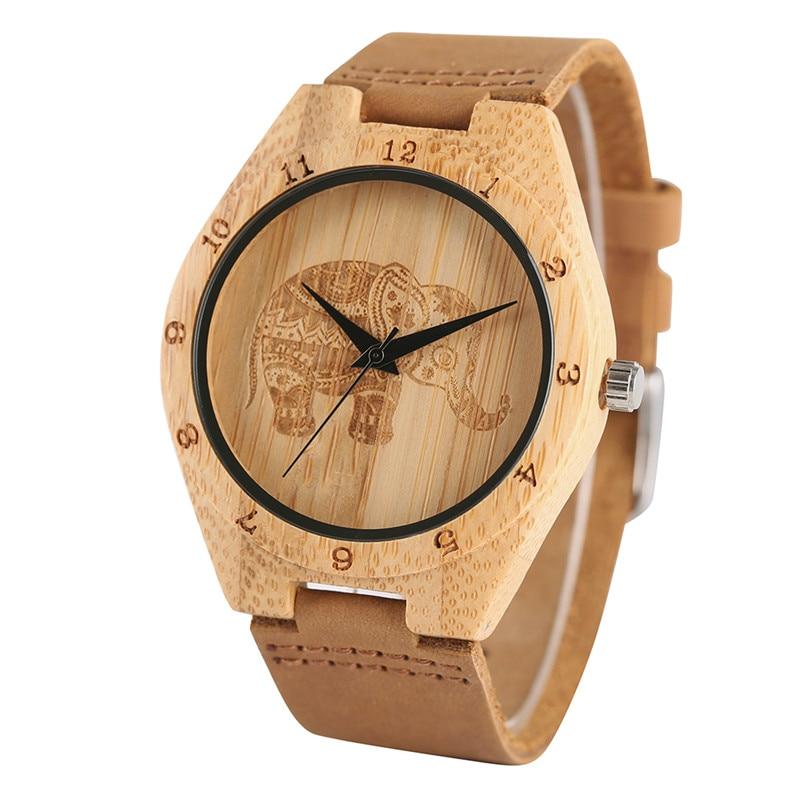 Fashion Men Nature Bamboo Wood Quartz Watch Analog Elephant Engraved Dial Wooden Case Women Genuine Leather Wristwatches Retro