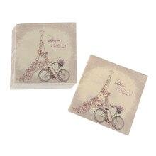 20 Uds vajilla desechable Vintage flor Torre estampado de bicicletas papel para mesa servilletas boda cumpleaños fiesta decoración pañuelo
