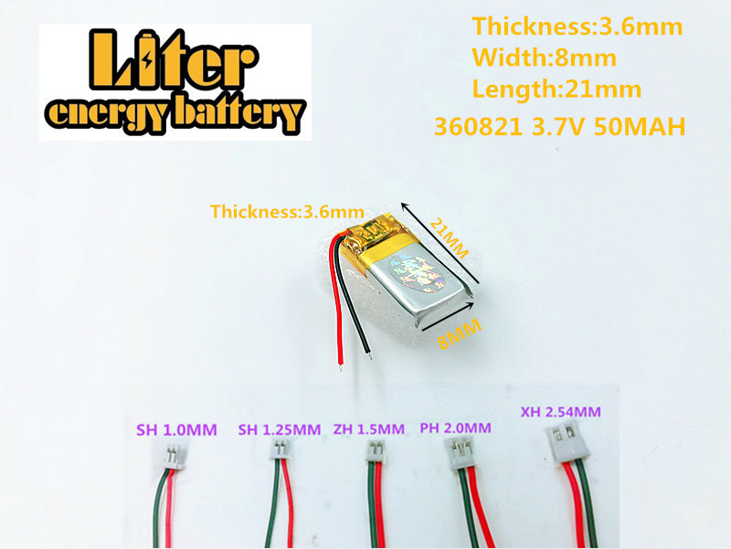 lithium polymer <font><b>battery</b></font> for 360821 plug GPS,mp3,mp4,mp5,dvd,bluetooth,model toy polymer rechargeable <font><b>battery</b></font> <font><b>3.7V</b></font>,<font><b>50mAH</b></font>,360821 image