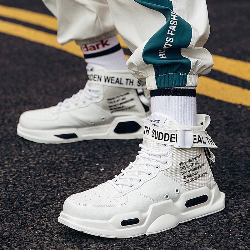 Letter Print 2019 Men White Board Sneakers Hip Hop Air High Top Leather Sneakers Men Streetwear Walkinging Shoes Spring Autumn