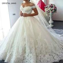 CRYSTAL JIANG Ball Gown Wedding Dress 2018 Vestido De Noiva Lace Applique Off the Shoulder Court Train Bridal Elegant