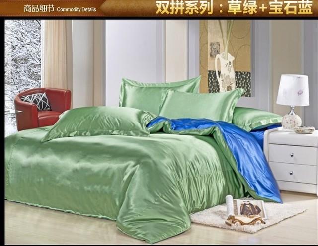 Green Blue Silk Satin Bedding Set Super Cal King Queen Full Size