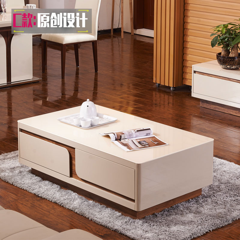 Small Tempered Glass Coffee Table: Simple Living Room Painted Tempered Glass Rectangular