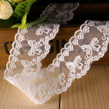 5 Yards/Lot 4CM 100%Cotton White Embroidered Butterfly Lace Trim DIY Clothing Bag Home Decal Dolls Sewing Trimming Ribbon(China)