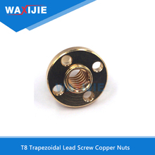 10Pcs/Lot T8 Trapezoidal Copper Screw Nuts 8mm Lead For Stepper Motor Lead Screw Diameter 10mm Pitch 2mm 3D Printer Accessories недорого