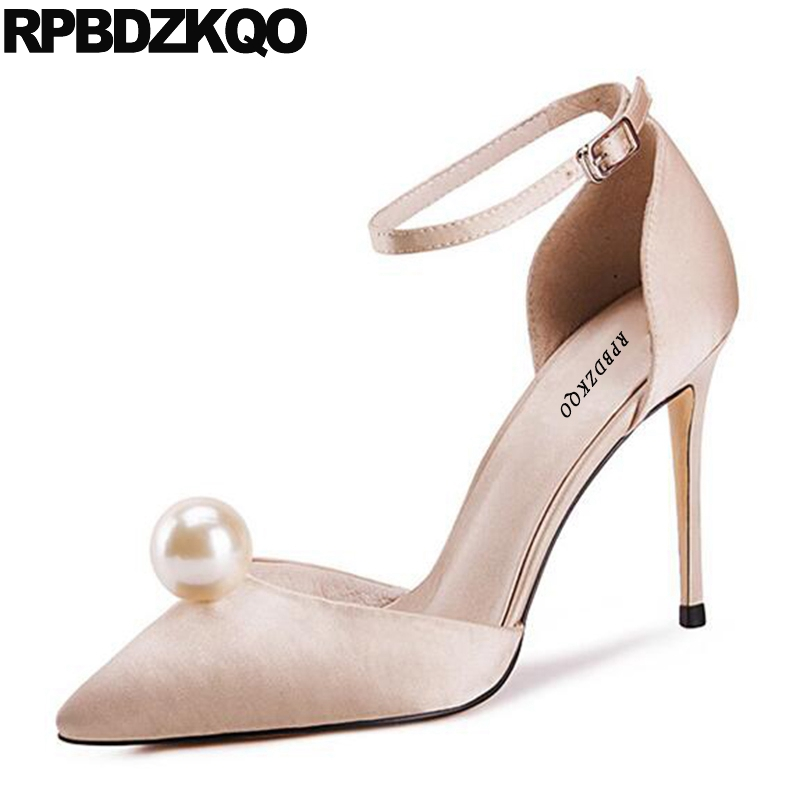 Navy Blue Pumps Size 4 34 Nude Prom Shoes 2017 Ankle Strap Thin Big Pearl Women Satin Discount High Heels 33 Pointed Toe Sandals цена