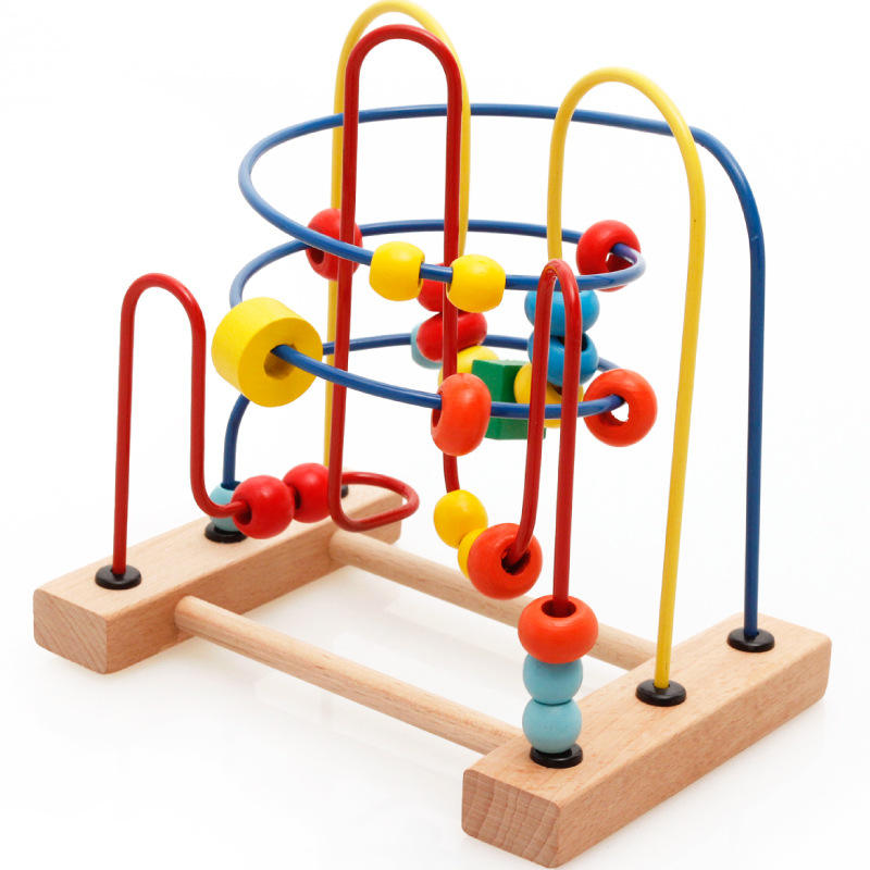 Montessori Educational Bead racks Beads children puzzle early teach string beads baby hand color training classic wooden toys baby wooden toys multifunctional learning cube puzzle round beads abacus frame baby educational toys for children