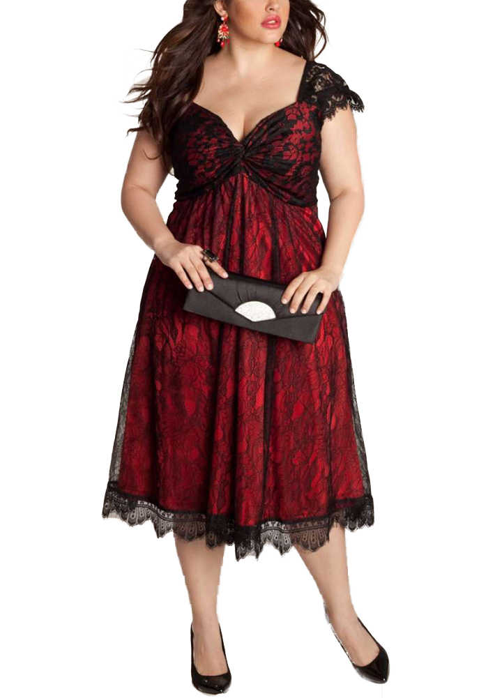 Summer Elegant Women Lace Dress Oversized Sexy V Neck Cap Sleeve Midi Party  Dresses female Clubwear aee790422d7f