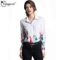 TANGNEST Women Summer Print Shirts 2017 New Fashion Elegant Brief Casual Turn Down Collar Style Women Vintage Shirts WCL1514