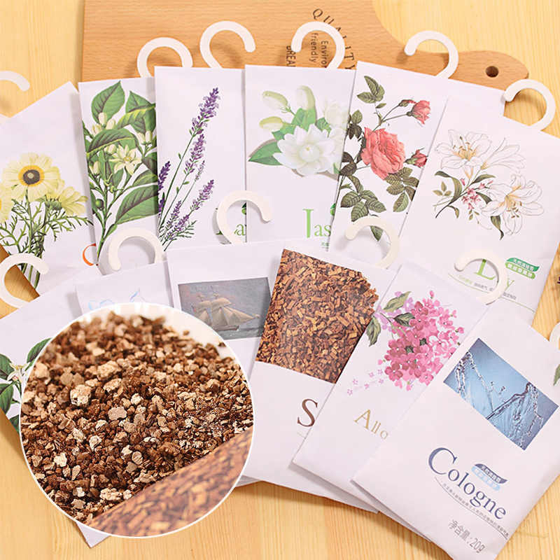 Hot 1PC  Natural Smell Incense Rose Jasmine Scent Bag Wardrobe home car Drawer freshener Sachet