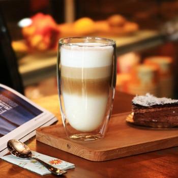 450ml Heat-resistant Double Wall Glass Cup Beer Coffee Cups Handmade Healthy Drink Mug Tea Mugs Transparent Drinkware