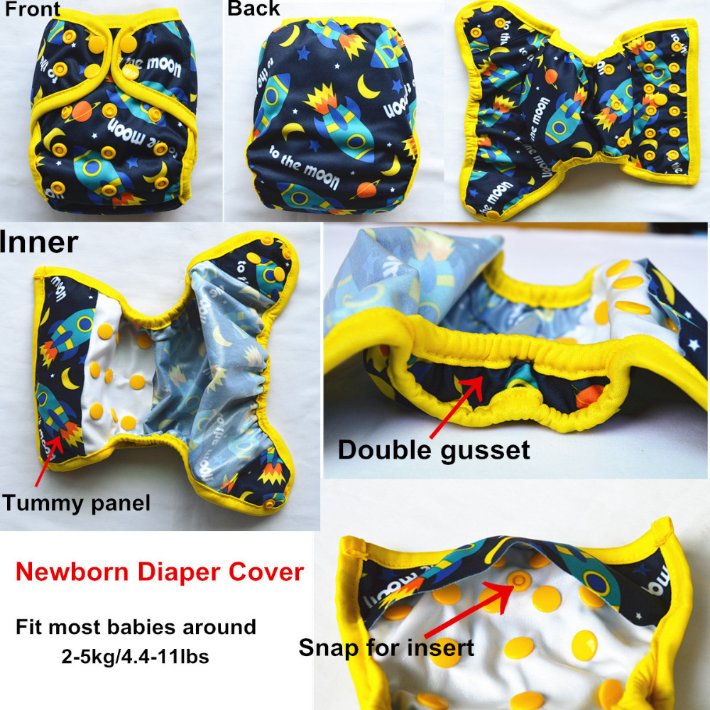 Sigzagor 1 Newborn Baby Cloth Diaper Cover Nappy Adjustable Waterproof PUL Double Gusset 4 4