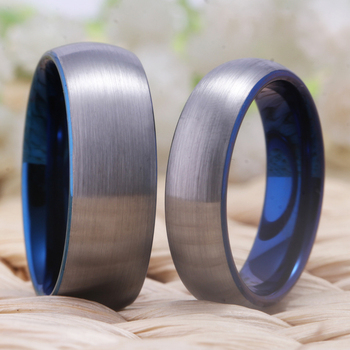 Couples Brushed Matte Silver With Blue Lining Tungsten ring 6