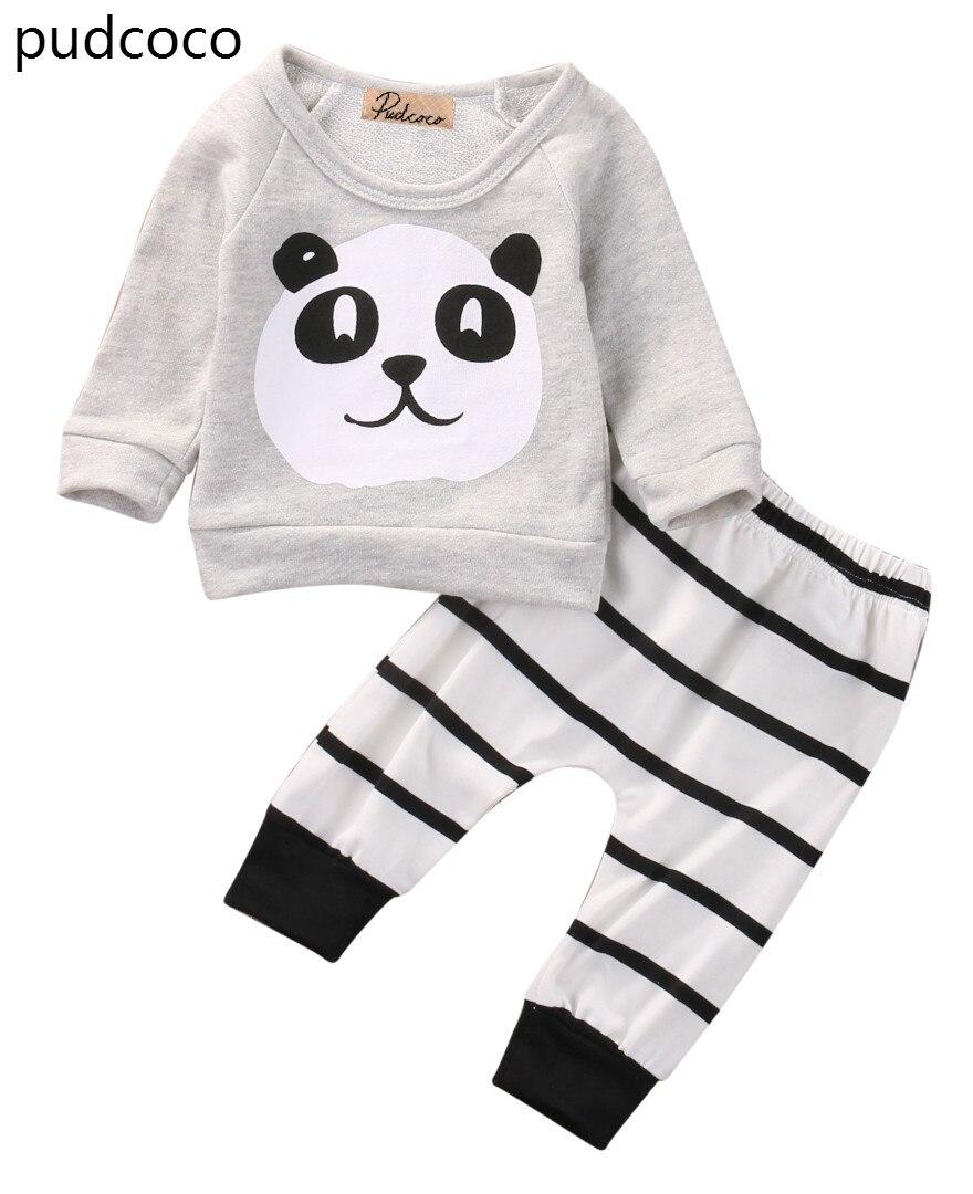 Милые мягкие для новорожденных для маленьких мальчиков Обувь для девочек панда одежда из хлопка с длинными рукавами футболка Топы корректи...