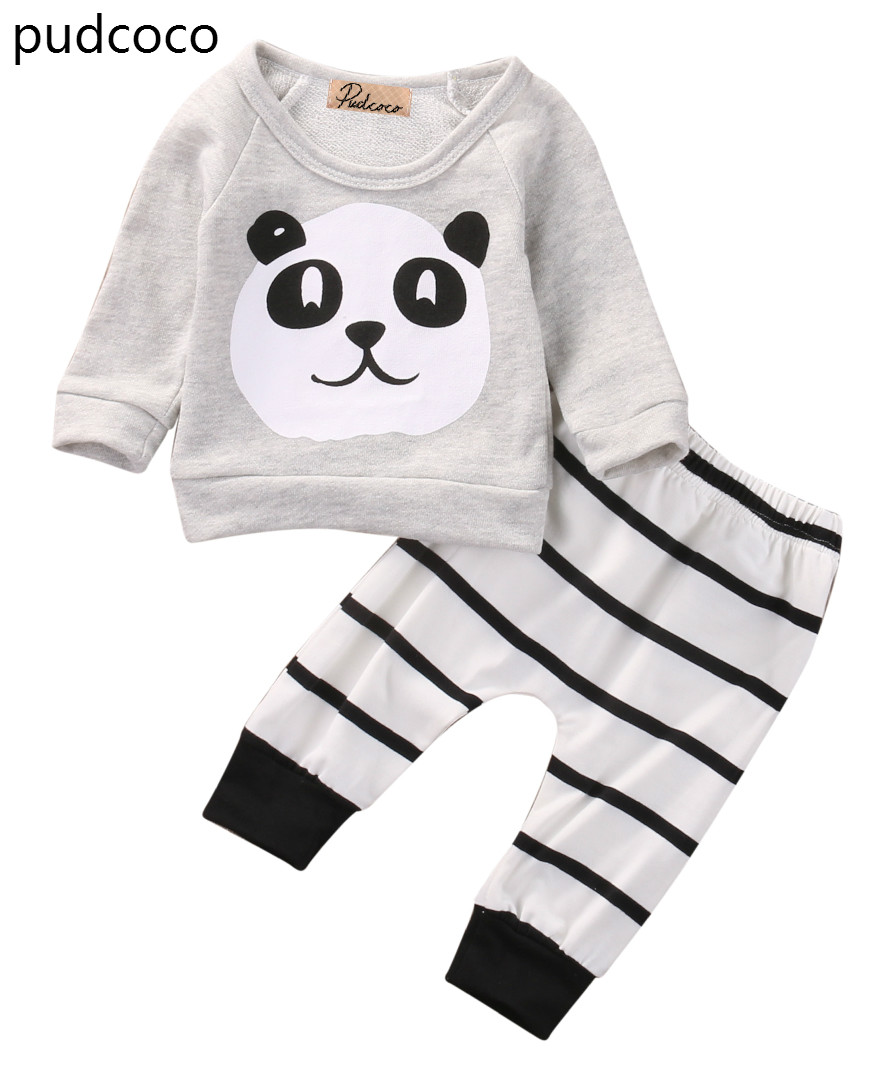 Soft Cute Newborn Kids Baby Boy Girls Panda Clothes Long Sleeve Cotton T shirt Tops Striped Pants 2pcs Clothing Outfits Set 2pcs newborn baby boys clothes set gold letter mamas boy outfit t shirt pants kids autumn long sleeve tops baby boy clothes set
