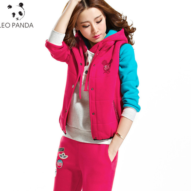 d59c220c089212 Nowa moda garnitur zima kobiety ciepły gruby polar trzy częściowy zestaw na  co dzień z kapturem