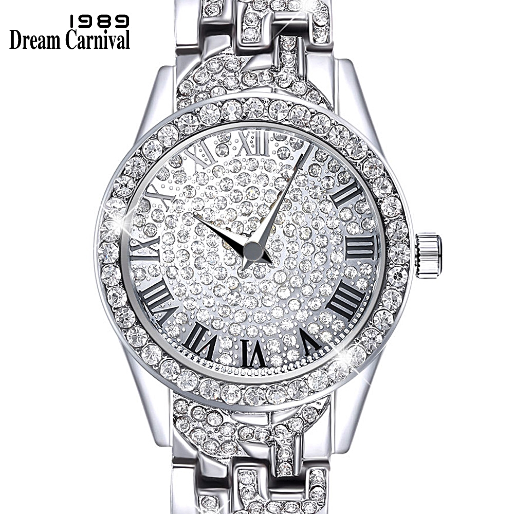 Dreamcarnival 1989 Crystals Watch for Ladies Black Roman Letters Index Stone Dial Alloy Bracelet Quartz Movement Xmas Gift A8314Dreamcarnival 1989 Crystals Watch for Ladies Black Roman Letters Index Stone Dial Alloy Bracelet Quartz Movement Xmas Gift A8314