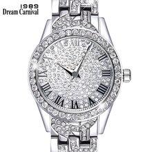 Dreamcarnival 1989 Crystals Watch for Ladies Black Roman Letters Index Stone Dial Alloy Bracelet Quartz Movement Xmas Gift A8314