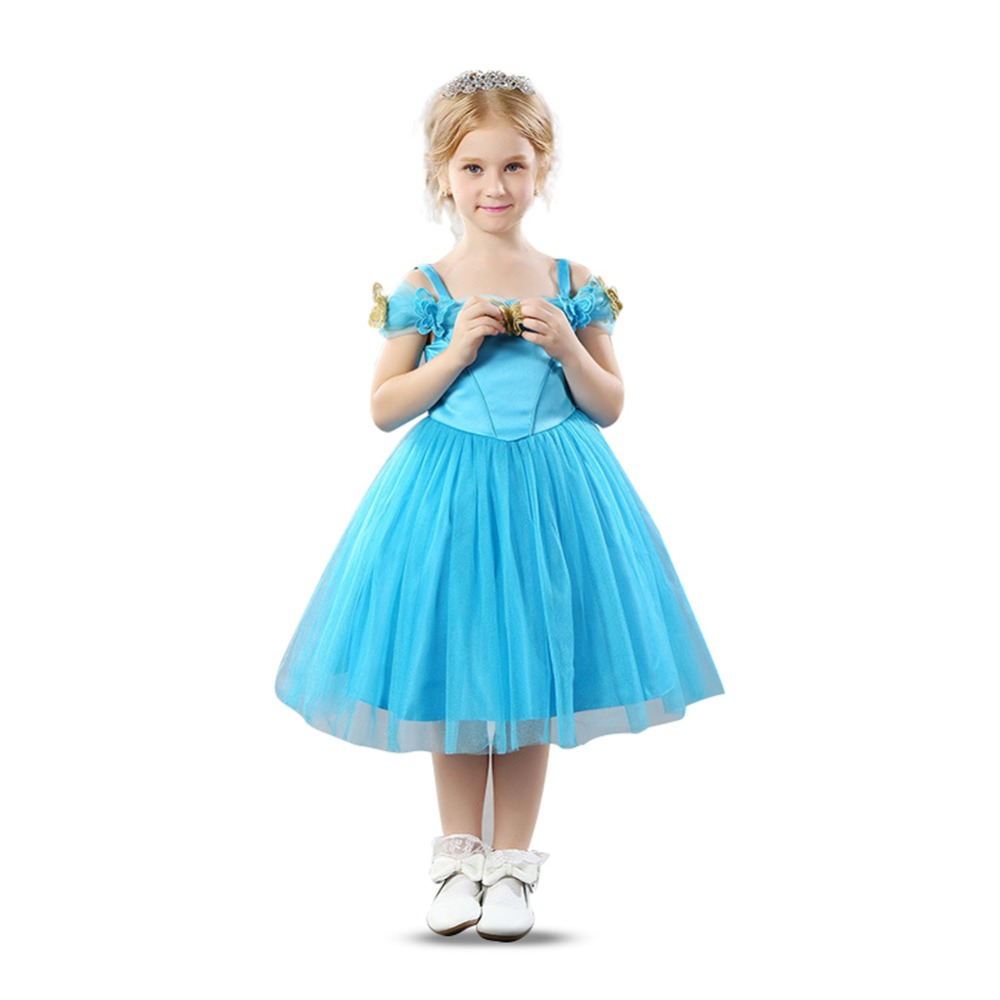 Flower Girls Off Shoulder Dress Cinderella Blue Princess Tutu Party Dress with Dainty Butterfly EmbroideryFlower Girls Off Shoulder Dress Cinderella Blue Princess Tutu Party Dress with Dainty Butterfly Embroidery