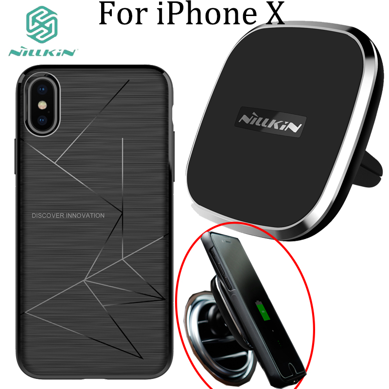 new styles 7fe19 2c209 US $42.36 |For iPhone X Case Wireless Charger Receiver Cover & Nillkin A  series Car Magnetic Phone holder Qi Wireless Charger-in Car Chargers from  ...