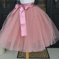 Puffy 6 Layer Tulle Skirt Pleated Tutu Skirts Womens Elastic Belt Faldas High Waist Mid