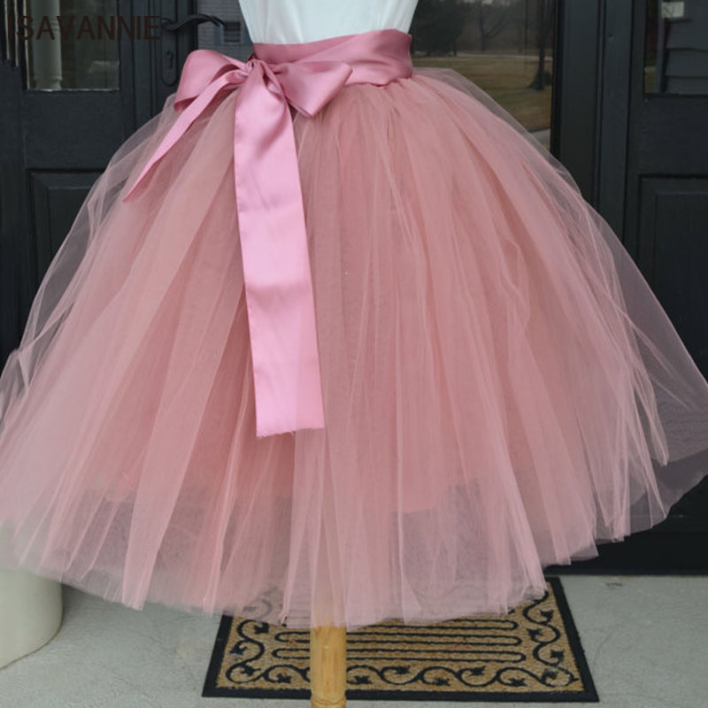 Puffy 6 Layer Tulle Skirt Pleated Tutu Skirts Womens Elastic Belt Faldas High waist Mid-Calf Knee Length Plus Saia Jupe