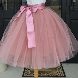 Puffy 6 Layers Tulle Skirt Pleated Tutu Skirts Womens Elastic Belt High Waist Women's Maxi Long Elegant 2018 Fashion