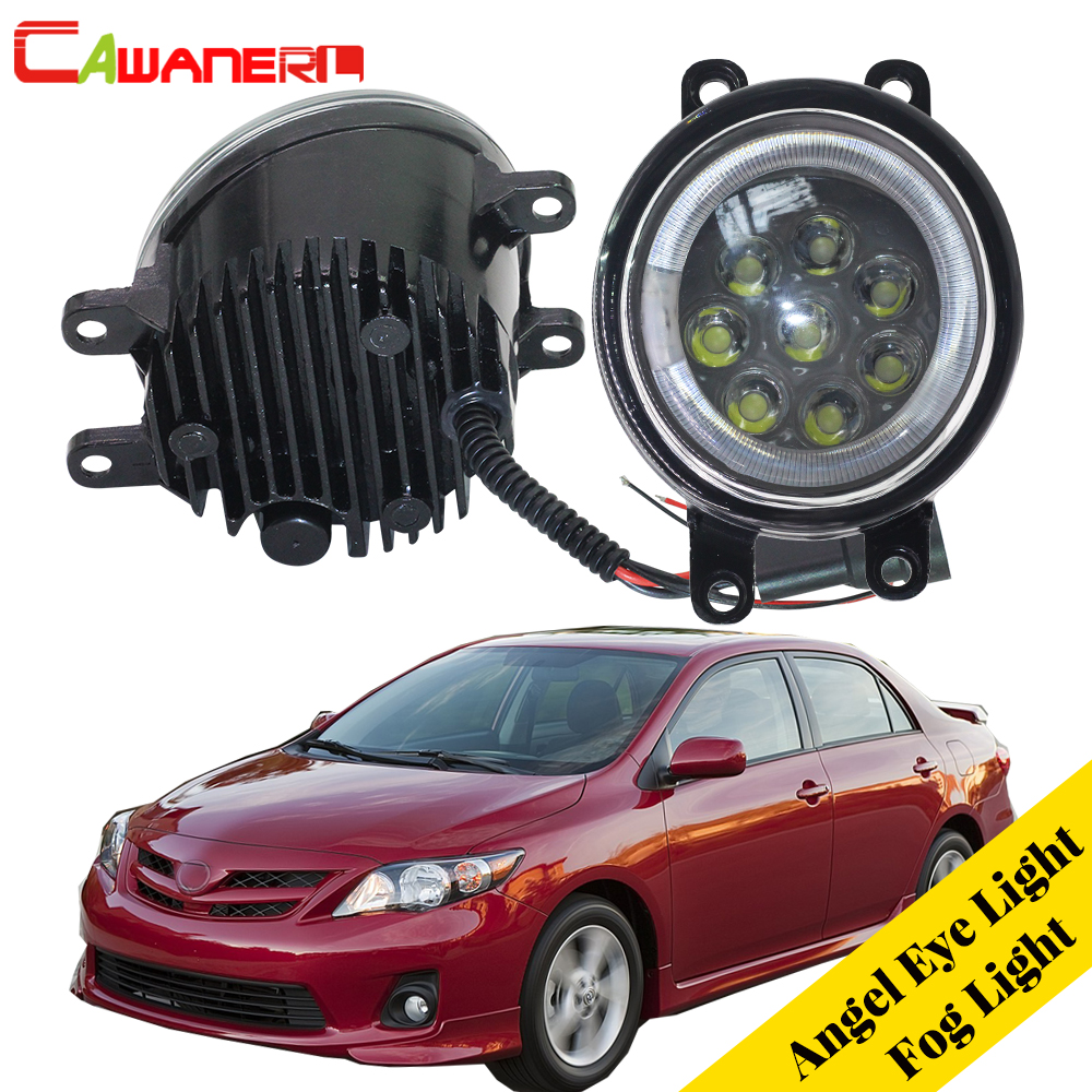 Cawanerl Car LED Lamp Fog Light Angel Eye DRL Daytime Running Light 12V For Toyota Corolla 2009 2010 2011 2012 2013 2014 2015 ecahayaku 1set 12v waterproof daytime running light drl fog lamp with fog hole for ford focus hatchback 2009 2010 2011 2012 2013