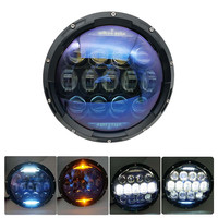 7 Inch Blue Round LED Headlights 130W with DRL/amber Halo 7 Inch Projector Headlamp for JK TJ Touring Yamaha Road Star