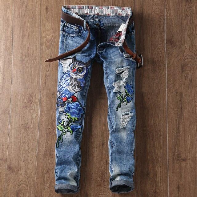 885d488444 Estilo Americano europeo famoso de la marca de lujo de Los Hombres de  mezclilla pantalones vaqueros