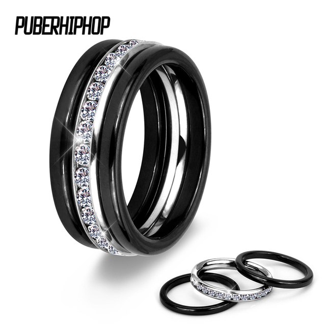 3PCS/ Set Modern Colorful Rings Set Innocuous Health Ceramic Rings With White St